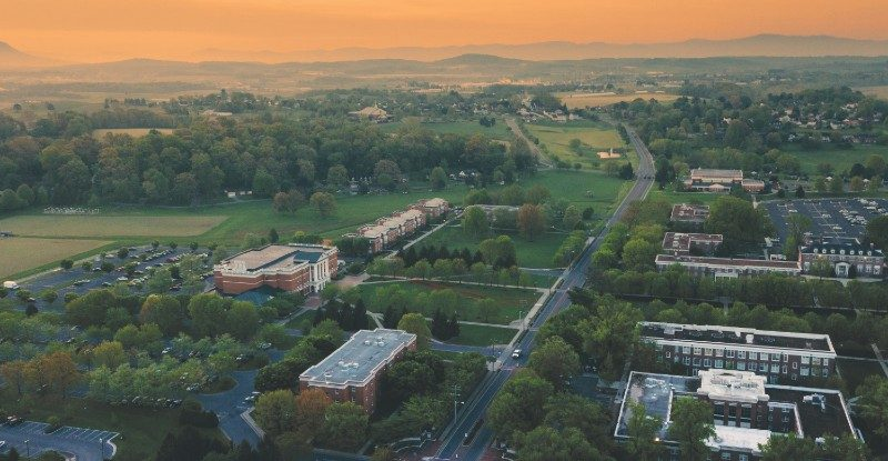 Drone photo of Bridgewater College campus during sunrise