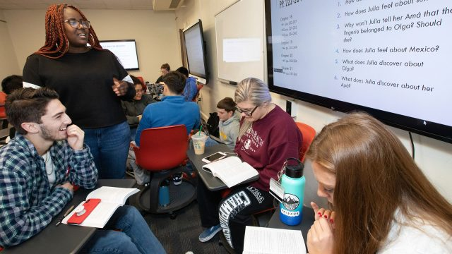 Students study in a world language class