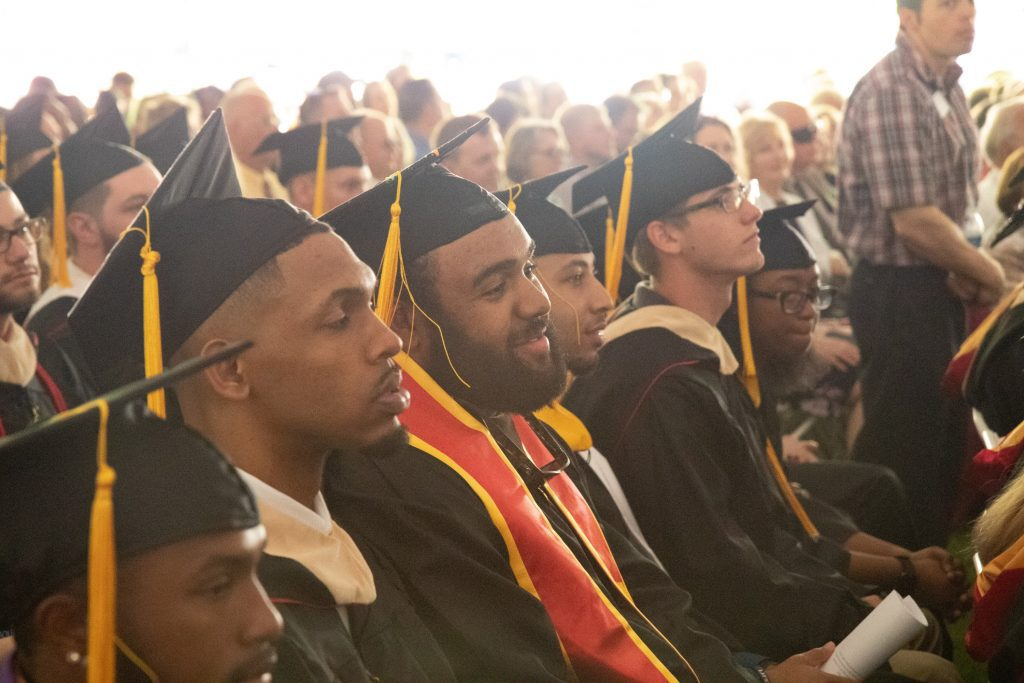 BC graduates listen in during Commencement