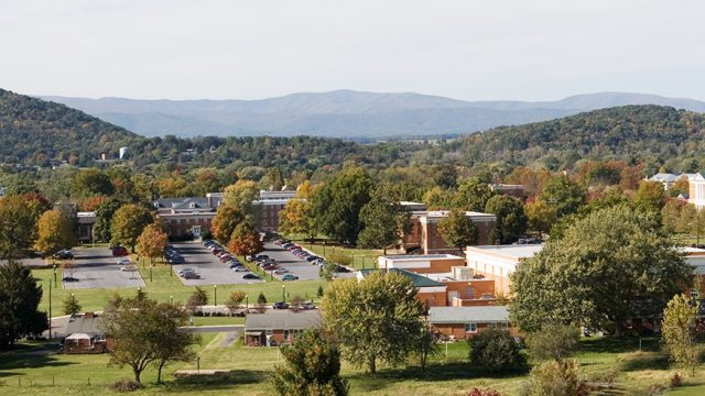Drone shot of the Bridgewater College campus