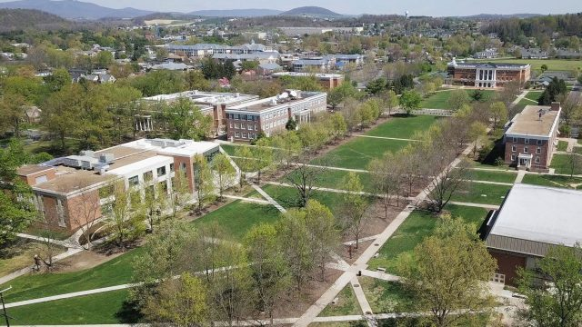 Aerial view of Bridgewater campus and the mall