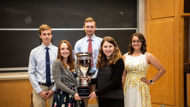 Students pose with the Bridgewater College Showker Award