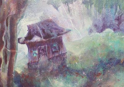 """Photo of Judith Ely's painting """"This Neck of the Woods""""