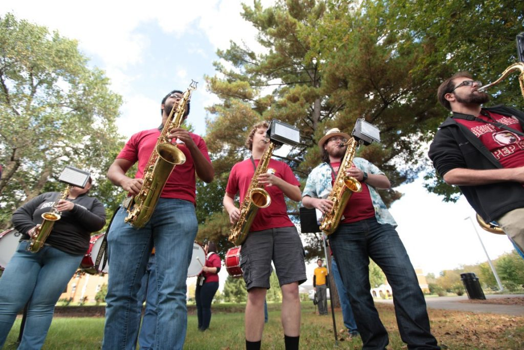 Saxophonists play outside