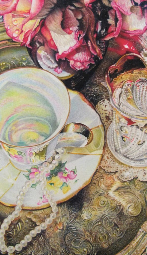 Piece of art showing two teacups