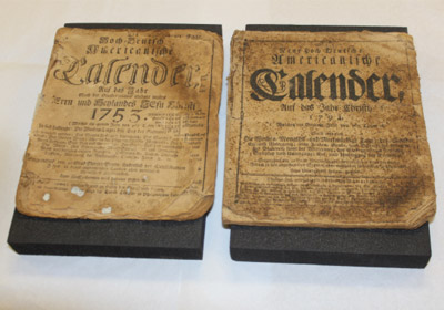 German language almanacs from 1753 and 1794