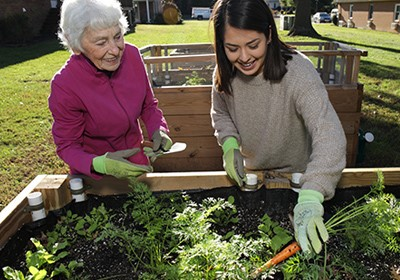  Photo of Jacqueline Lamas Older person and younger person work together in a garden