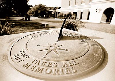 Sundial in front of McKinney Center