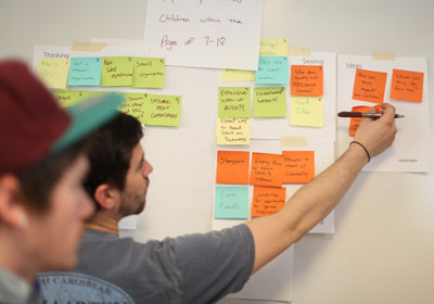 Photo of students putting post-it notes on an idea board