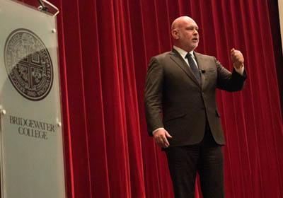 Photo of Steve Schmidt giving endowed lecture||Photo of Steve Schmidt|Photo of Steve Schmidt giving endowed lecture|Crowd|