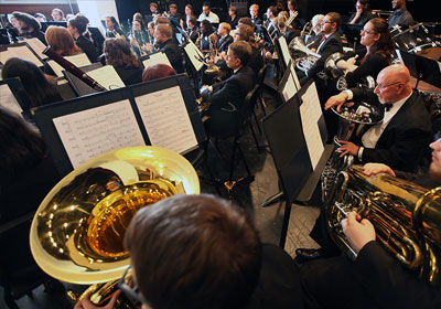 Photo of Symphonic Band|Photo of Symphonic Band performing||Photo of Symphonic Band