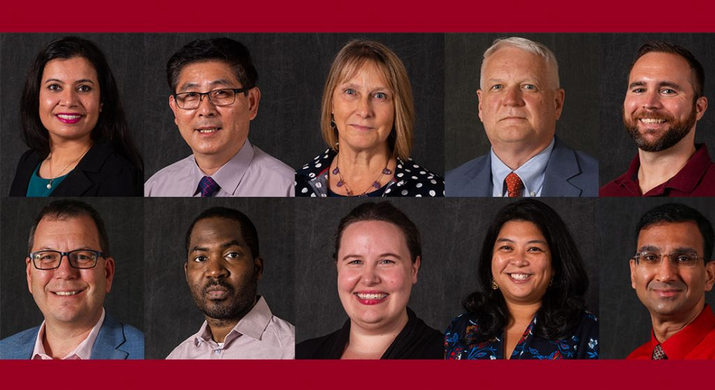 Headshots of 10 new faculty members for the 2021-2022 academic year