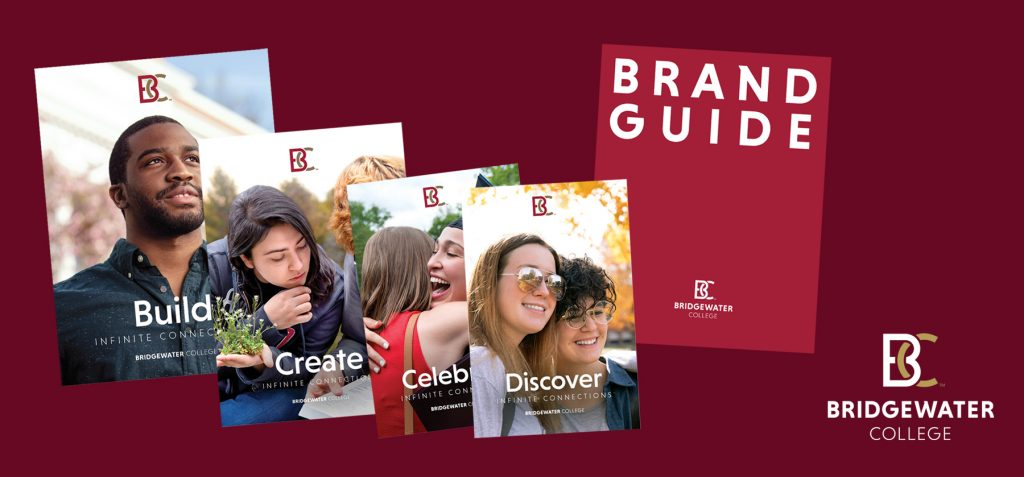 Brochures featuring Bridgewater College students and the cover of the Brand guide