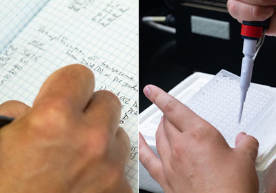 student takes down notes on paper and another student uses a pipet in a lab