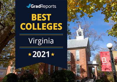 A Best Colleges 2021 graphic appears on a photo of Bridgewater College