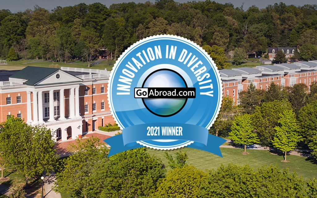An Innovation in Diversity logo appears on a photo of Bridgewater College's campus