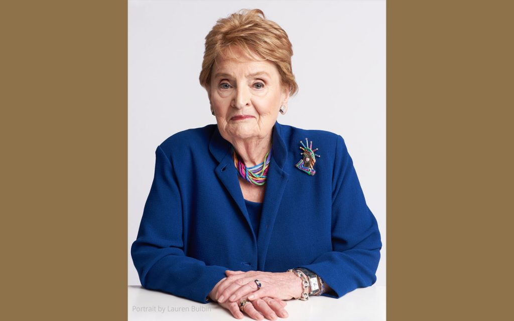 A headshot of Dr. Madeleine Albright, the first female U.S. Secretary of State