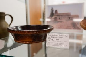 Pottery on display as part of the Potter's Progress exhibit