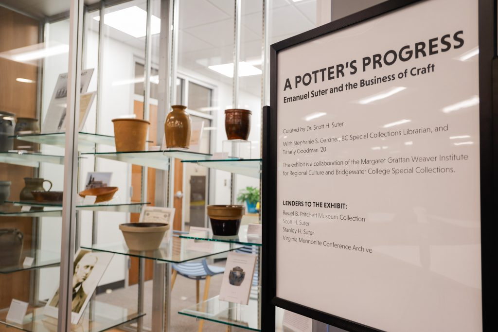 A sign that reads A Potters Progress on display in the special collections area of the John Kenny Forrer Learning Commons at Bridgewater College