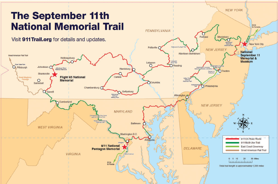 A map of the September 11th National Memorial Trail.