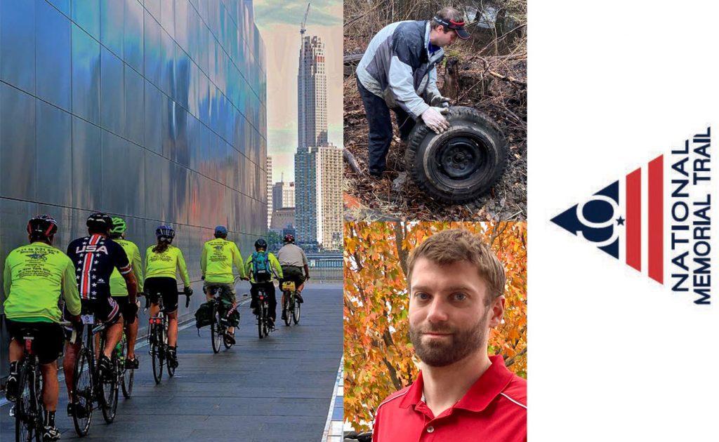 Bikers bike toward the Washington Monument, a headshot of Bridgewater College alum Jeff McCauley, and the National 9/11 Alliance's logo appear