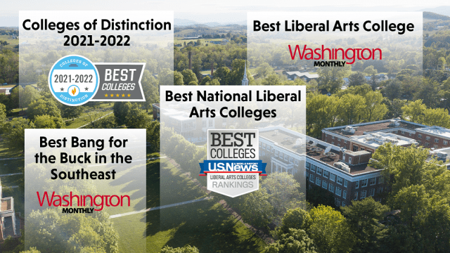Text over an image of Bridgewater College reads: Colleges of Distinction 2021-2022; Best Liberal Arts College; Best Bang for the Buck in the Southeast; Best National Liberal Arts College
