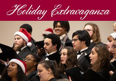 Students sing while wearing Santa hats. Text reads Holiday Extravaganza