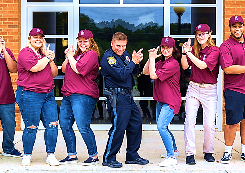 Officer Zander and student cadets
