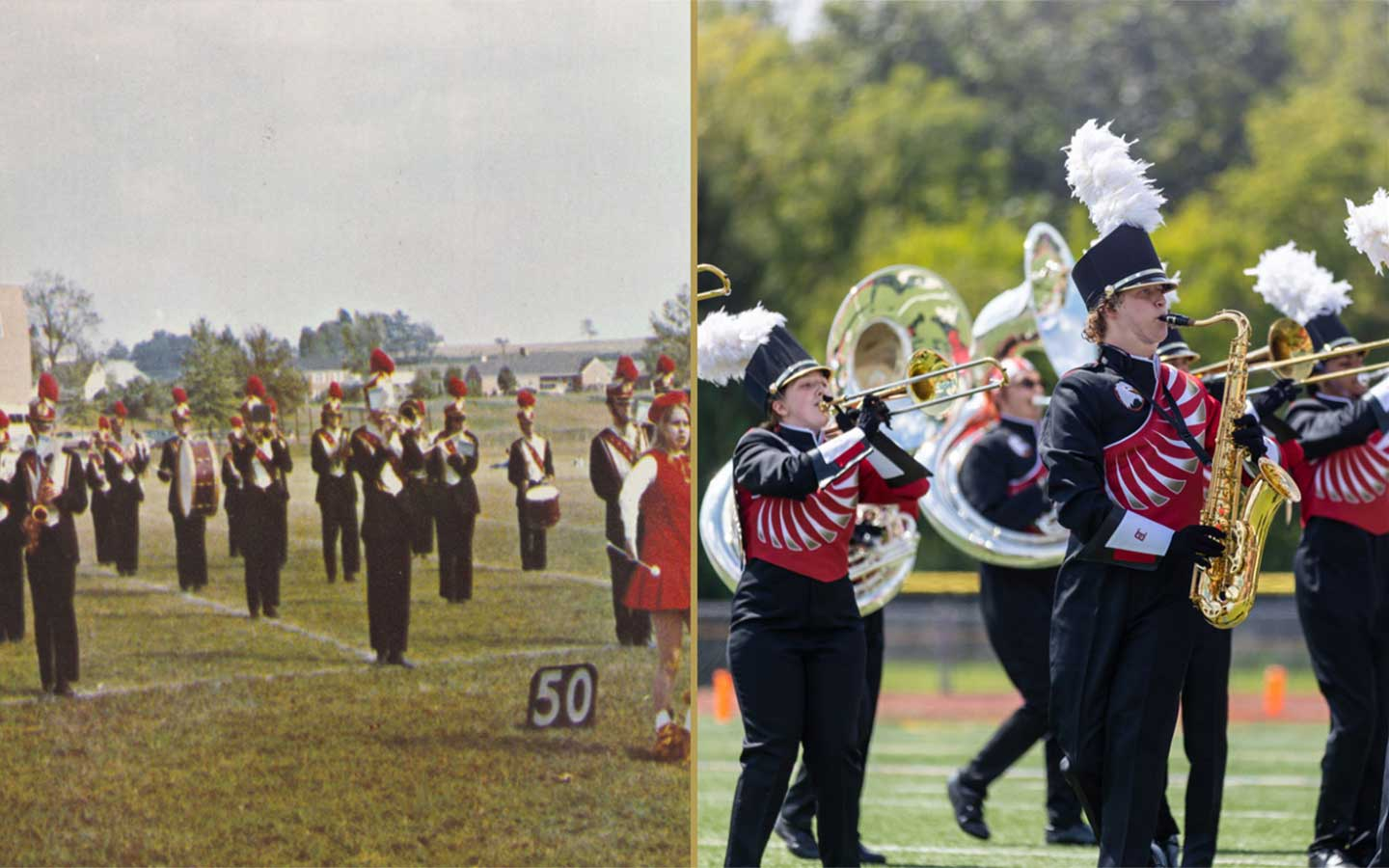 Two images appear side-by-side, on the left is an image from the 1950s BC band and on the right is the 2021 marching band.